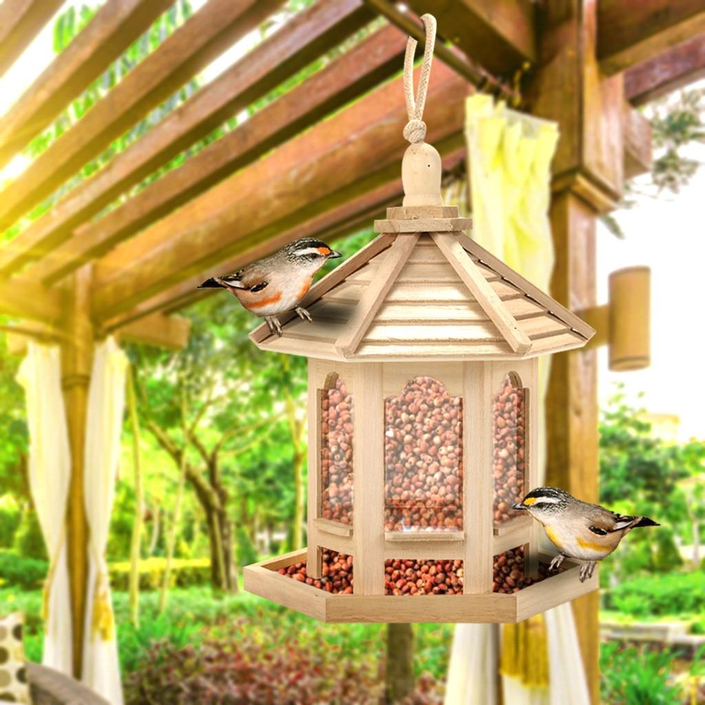 Alimentador de pássaros de madeira, casa de pássaros pendurado, ninho com teto, decoração para quintal de casa, jardim, decoração de animais de estimação, formato de hexágono