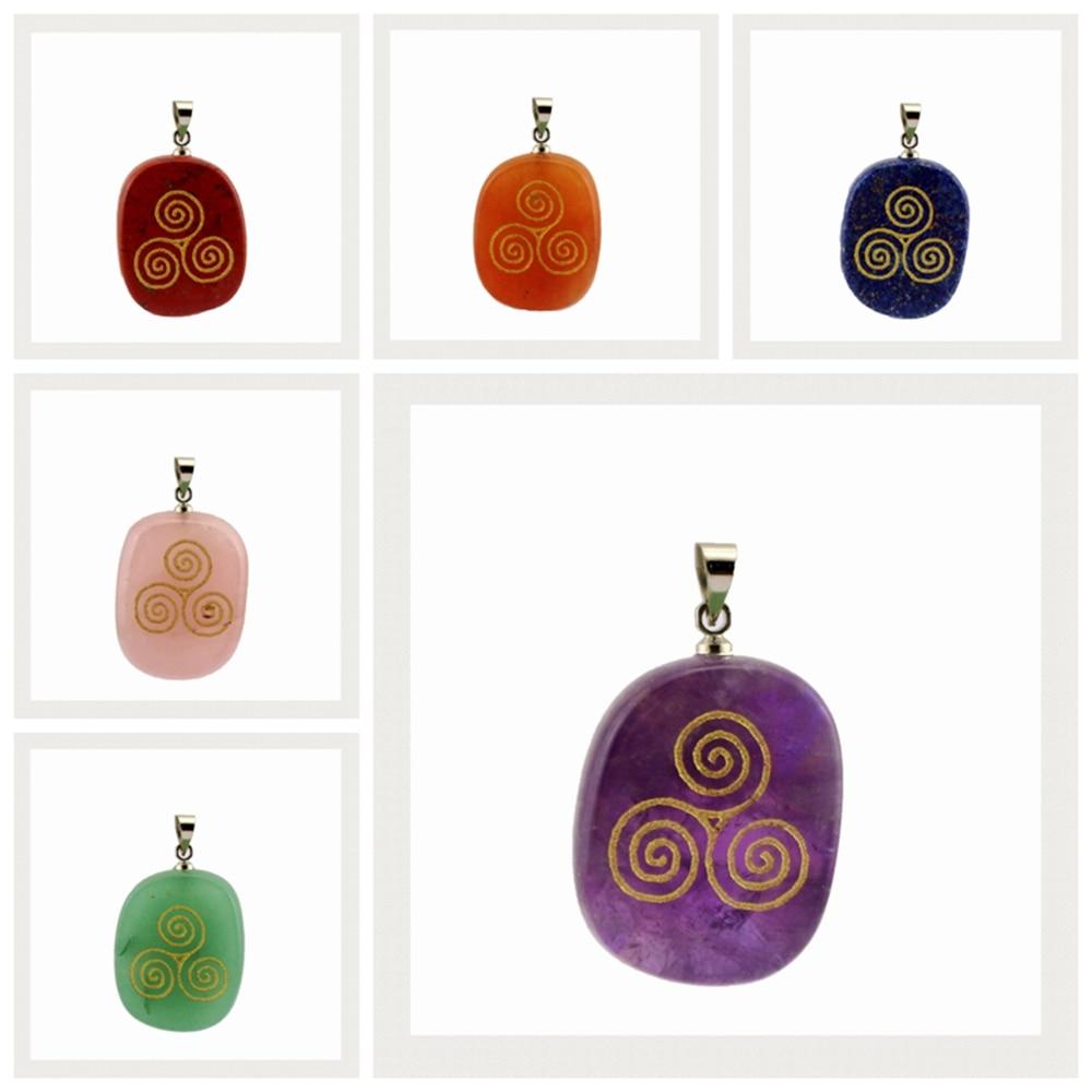 Collar de cristal Natural ovalado a la moda creativo colgante tallado torbellino chakra helix Reiki curación colgante de meditación joyería