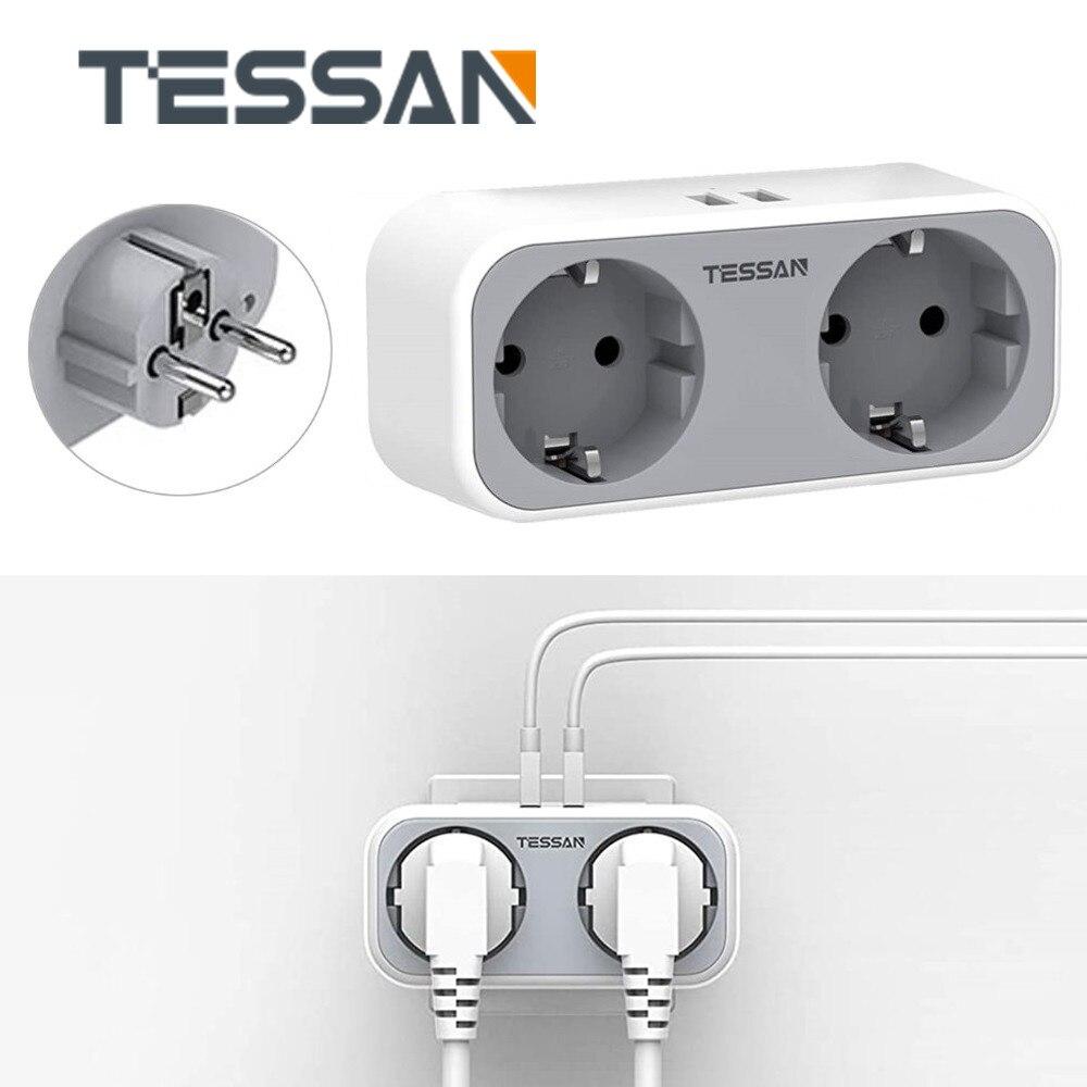 TESSAN Mini Alargador Enchufe toma de corriente inteligente 2 salidas y 2...