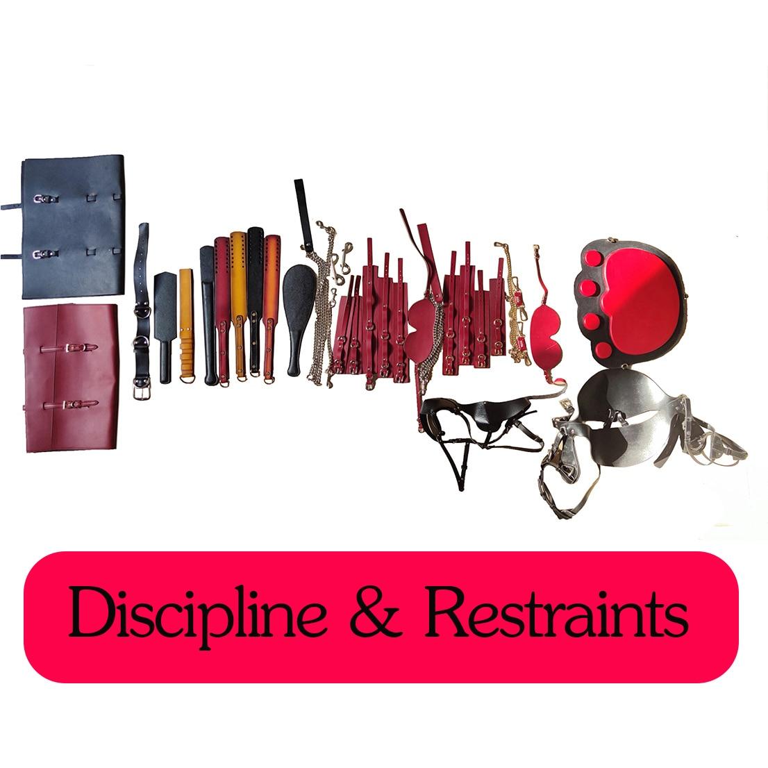 مجموعة كاملة من مجموعة BDSM مجموعة حقيقية الجلود عبودية مجموعة أدوات ضبط النفس الكبار Disipline صنع العرف لعب للرجل والمرأة