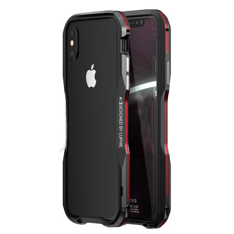Funda de parachoques de Metal de lujo para iPhone 7 funda de aluminio con marco duro 3D funda protectora para iPhoneX XS MAX XR 7 8 Plus