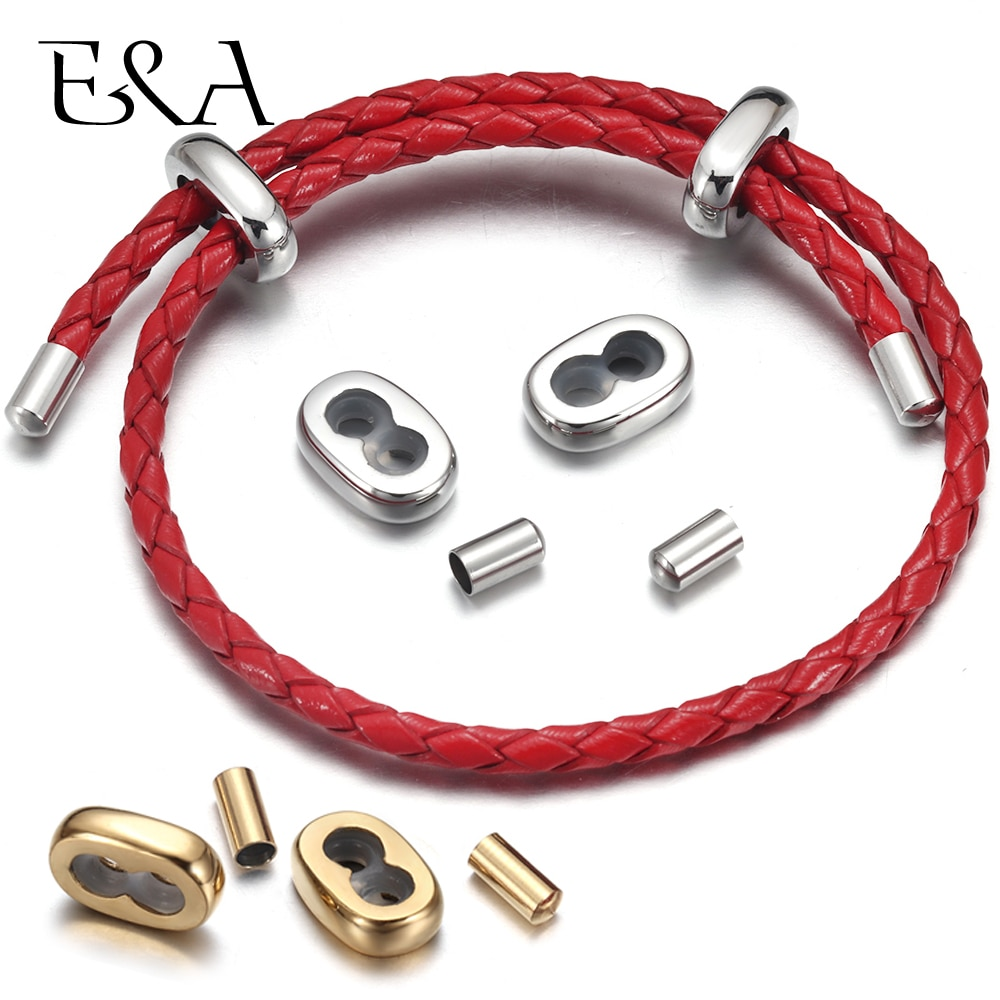 2Sets Stainless Steel 18K Gold Clasp End Caps Spacer Beads connector for Adjustable Bracelet Milan Rope Jewelry Making Findings