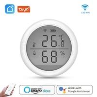 Tuya     capteur WIFI de temperature et dhumidite  hygrometre dinterieur  thermometre avec ecran LCD  avec Alexa Google Assistant  pour maison intelligente