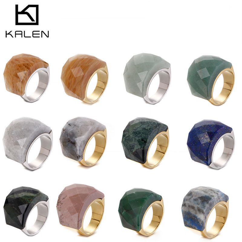Женские кольца с натуральным камнем KALEN, в богемном стиле, из нержавеющей стали, индийское золото, размер 6-9
