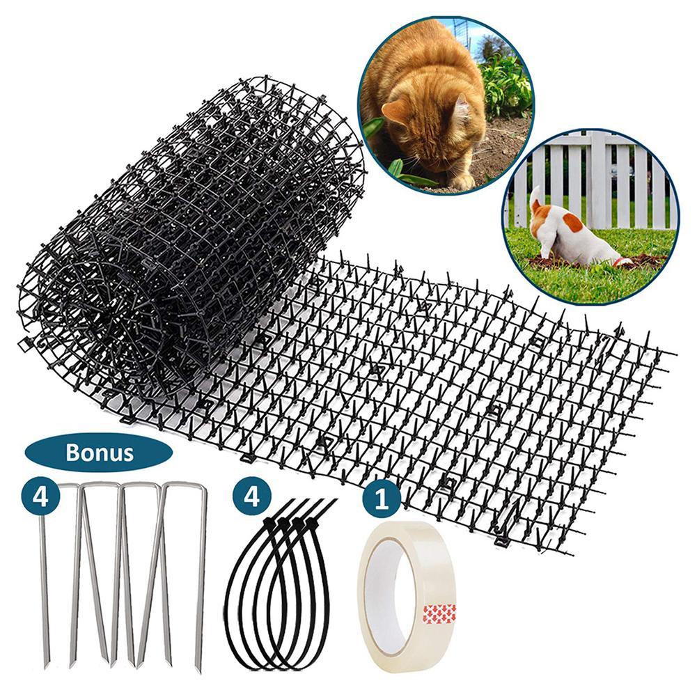 Almohadilla de gato para jardinería plástico Anti gato negro PP gato Espino gato perro plástico uñas gatos y perros estera repelente previene escalada