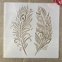 3030cm big mandala two feather diy layering stencils painting scrapbook coloring embossing album decorative template