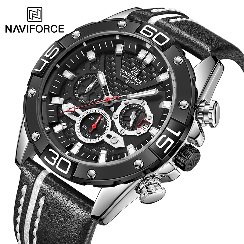 NAVIFORCE Brand Casual Genuine Leather Male Watch Luminous Sport Waterproof Chronograph Wristwatch Quartz Date Relogio Masculino