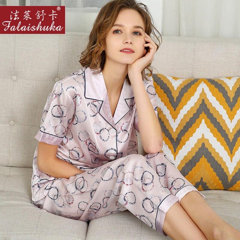 100% Natural Silk Pajama Sets Female Summer Real Silkworm Silk Sleepwear Short Sleeve Long Pants Printed Women Pyjamas T8237