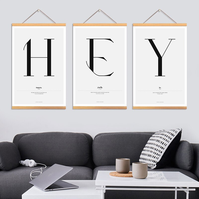 Estilo minimalista nórdico inglês alfabeto rolagem pintura da lona decoração da parede arte cartazes significativos quarto decoração casa