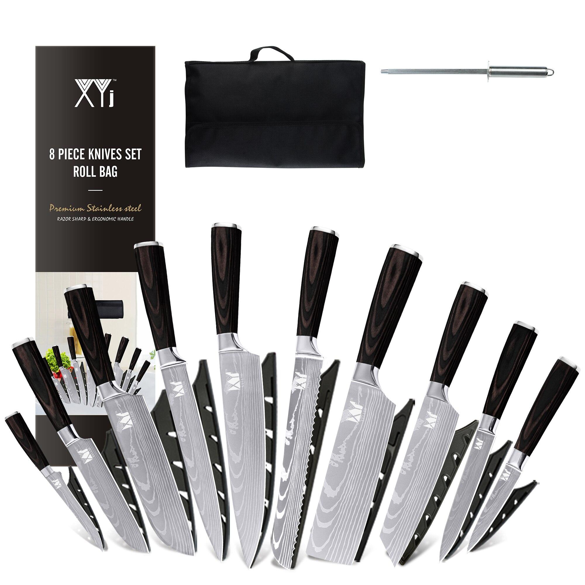 XYj 8 قطعة طقم السكاكين أدوات مطبخ مع حافظة سكين شحذ عصا هدية يغطي الفولاذ المقاوم للصدأ الوريد دمشقي نمط الشيف السكاكين