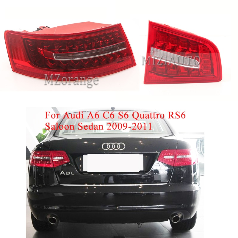 LED Rear tail light For Audi A6 C6 S6 Quattro RS6 Saloon Sedan 2009-2011 Tail Stop Signal Brake Lights Rear turn Fog lamp led rear tail lights for ford transit 2014 tail stop brake lights european version car accessories rear turn signal fog lamp