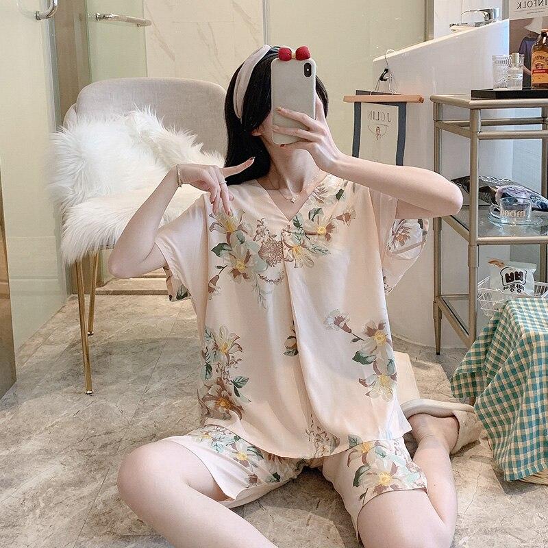 Футболка-с-короткими-рукавами-из-поплина-с-цветочным-принтом-пижамы-женские-летние-тонкие-из-искусственного-хлопка-Дышащая-одежда-Домашн