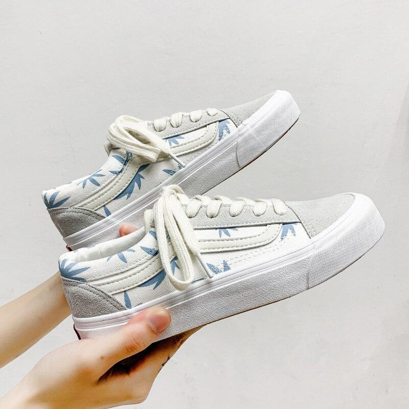HZZ1 القمر الأزرق حذاء قماش مطرزة المرأة كل مباراة طالب منخفضة أعلى الأحذية العصرية ulzzang مبركن حذاء كاجوال بنعل مسطح