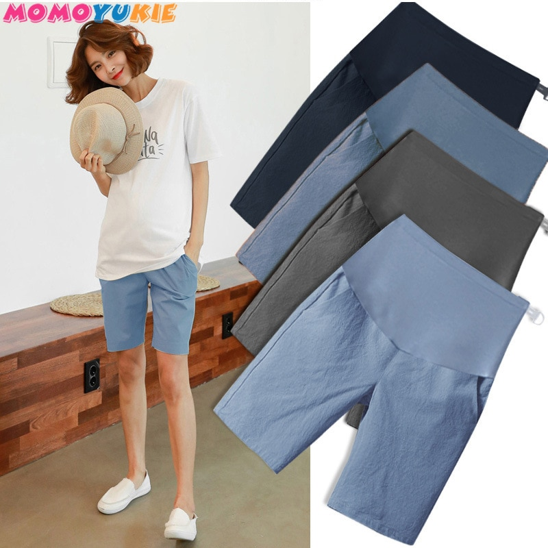1/2 Length Thin Cotton Linen Maternity Short Pants Summer Fashion Shorts Clothes for Pregnant Women Casual Belly Pregnancy