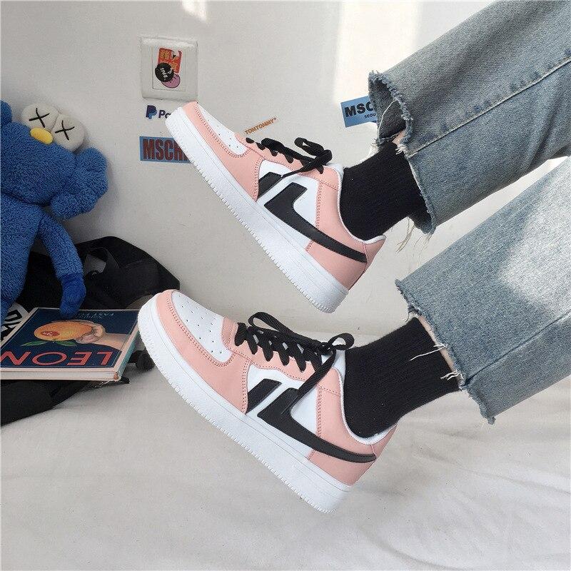 2020 nova marca rosa senhoras tênis respirável leve tênis de corrida sapatos moda atacadores sapatos vulcanizados femininos