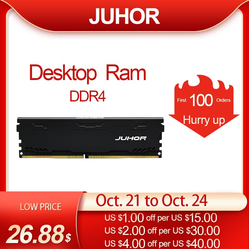JUHOR Memoria Ram ddr4 16GB 4GB 8GB 32GB Desktop Memory  Udimm 2133MHz 2400MHz  2666MHz  3000MHz New Dimm Rams With  Heat Sink
