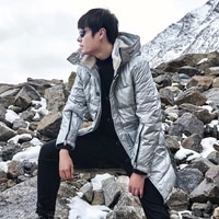 mens bright down jacket mens long couples womens trendy brand casual thick coats long over the knee loose winter clothes tren
