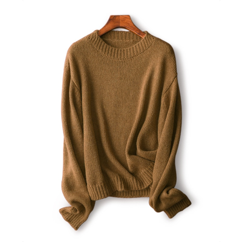 Shuchan Wool Blend Knit Sweater Pullover Autumn Winter New 2021 O-Neck Casual  A-straight Womens New Arrival Sweaters enlarge