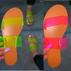 Summer Sexy Ladies Slippers Transparent Solid PVC Strap Flat Rubber Sole Outdoor Beach Slides Fashion Ladies Shoes Female Modern