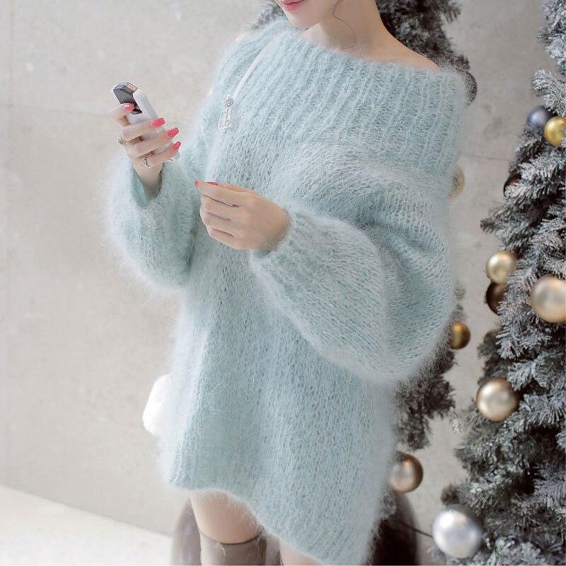 JSXDHK moda fuera de hombro grueso largo Mohair suéter vestido Otoño Invierno mujeres tejido linterna manga suave suéteres sueltos