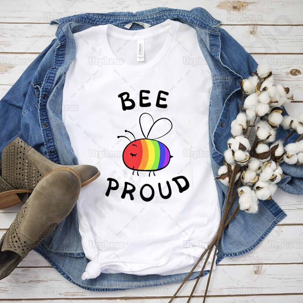 Camiseta de 100% de algodón con estampado de abeja, Camiseta de Orgullo LGBT arco iris