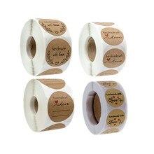 Etiquetas redondas de 1 pulgada para álbum de recortes, adhesivo de papel Kraft Natural de agradecimiento con corazón, sello, etiqueta hecha a mano con amor, 500 Uds.