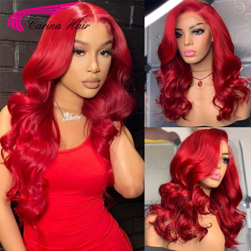 Cherry Red Lace Front Wig Pre Plucked Brazilian Wavy Human Hair Wigs For Women Transparent Lace Red