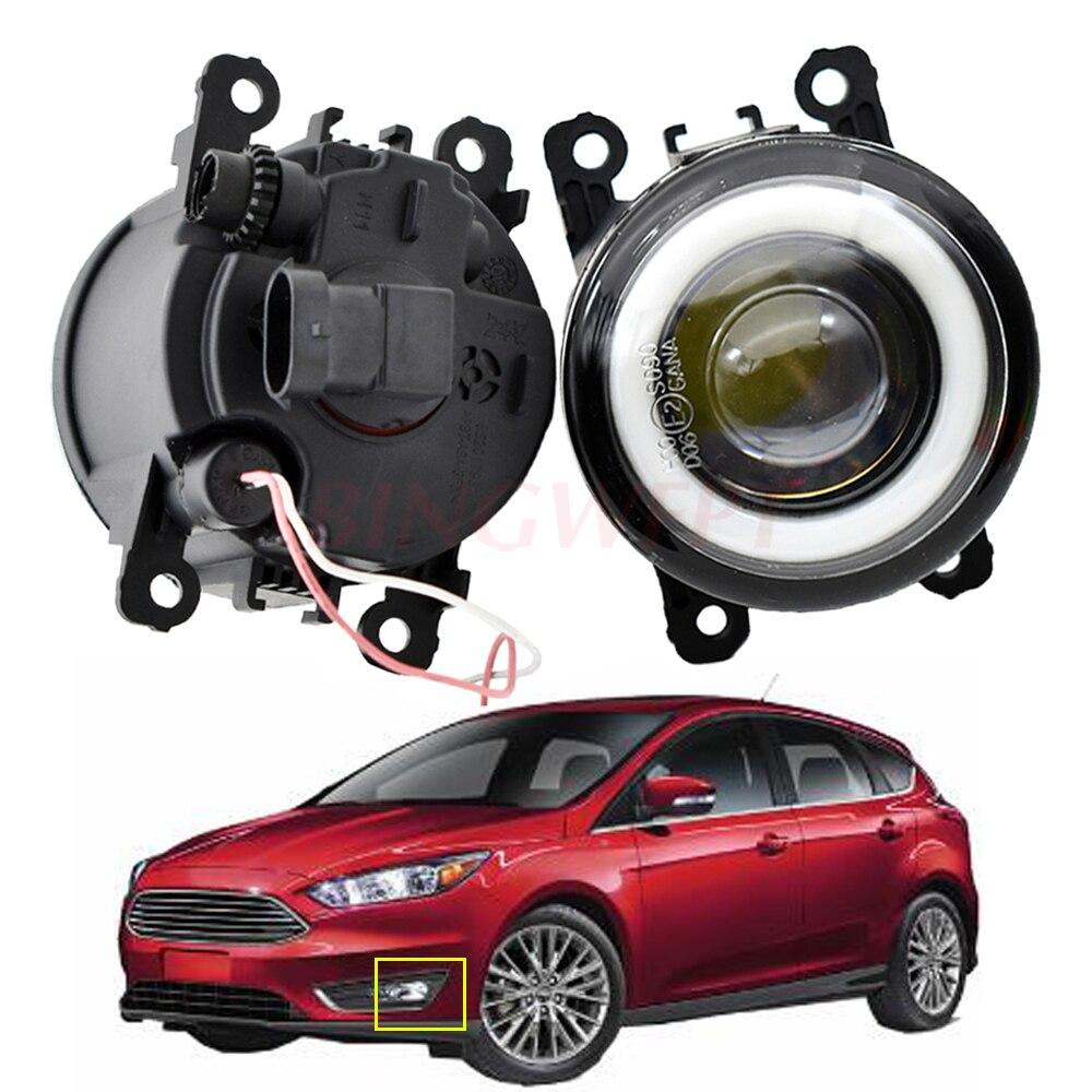 2 pces para f-ord foco mk2 mk3 2004-2015 acessórios do carro led luz de nevoeiro 3000lm anjo olho drl luz de circulação diurna 12v alta brilhante