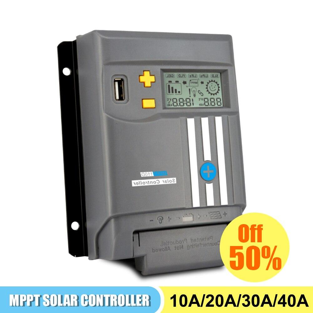 Mppt الشمسية جهاز التحكم في الشحن لوحة طاقة شمسية MPPT شاشة الكريستال السائل 10A 20A 30A 40A مع واي فاي 12 فولت/24 فولت بطارية منظم ثنائي USB LifePo4