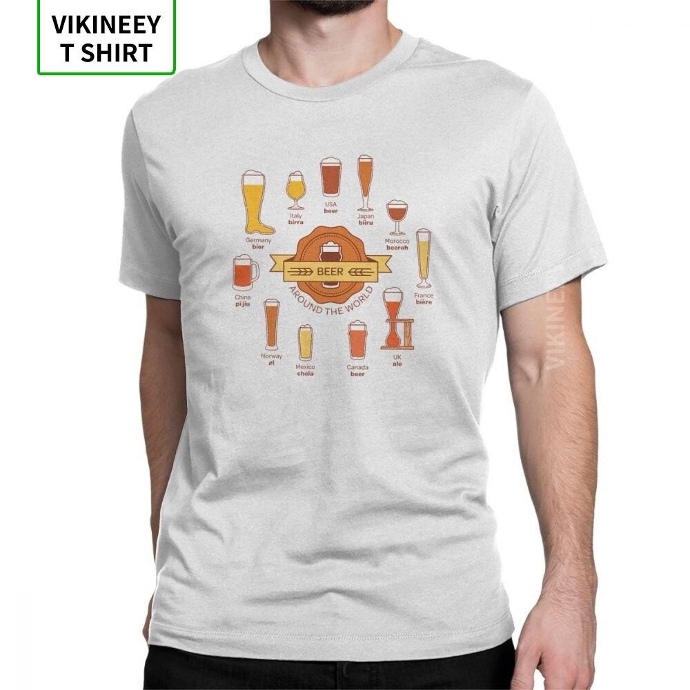 Cerveja em todo o mundo t camisa masculina barra álcool camisetas cerveja bebida vintage camiseta de manga curta o pescoço 100% algodão presente topos