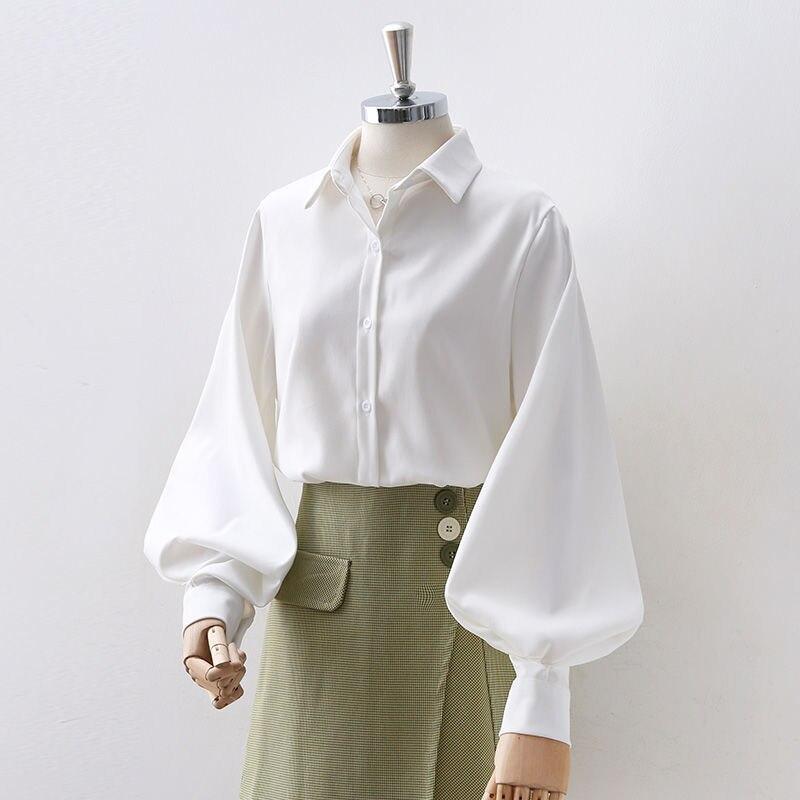 QWEEK Lantern Sleeve Vintage Shirt Women White Oversized Shirt Long Sleeve Button Up Top Office Ladi