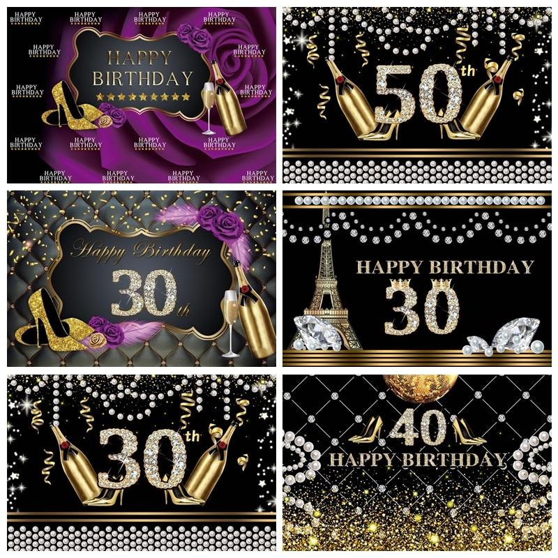 Фотофоны счастливый Сказочный женский день рождения 30 40 50-й высокий каблук баннеры для вечеринки Фото фоны фотосессия Фотостудия