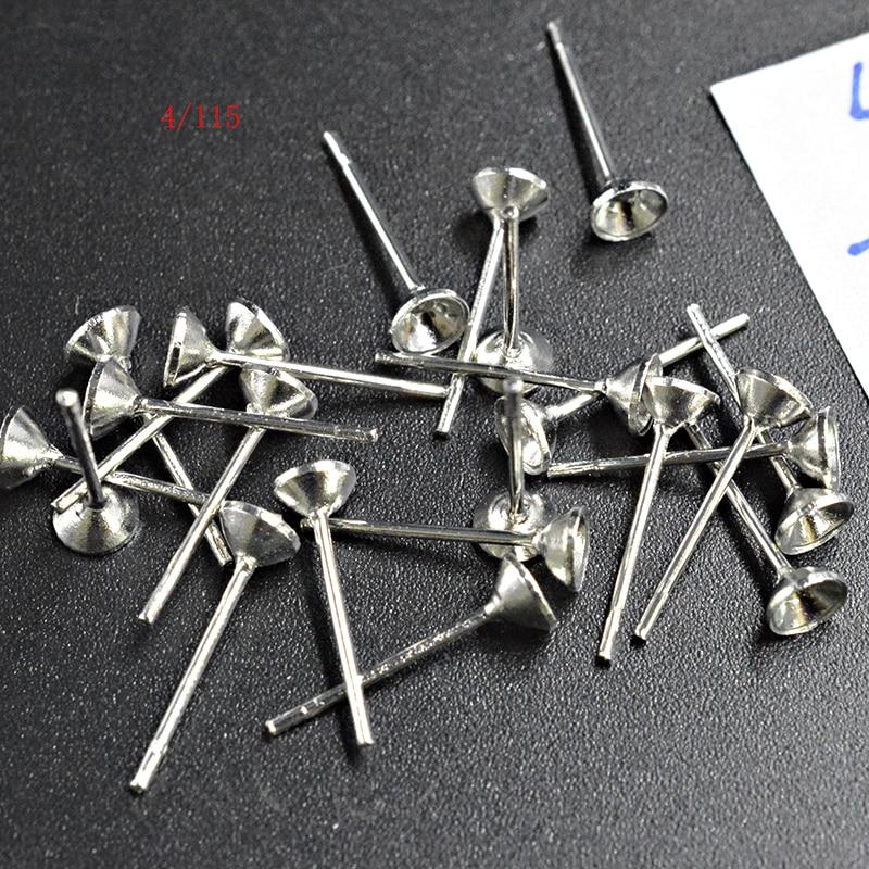 FLTMRH 50 Uds. Pendientes de 4MM Pin Cup Pit joyería DIY hacer suministros Back Post perno con tuercas/embragues/tuerca