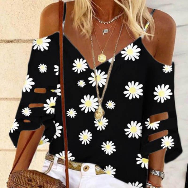 Daisy print v-neck elegante camisa superior feminina 2020 verão fora do ombro mangas alargadas malha retalhos topo
