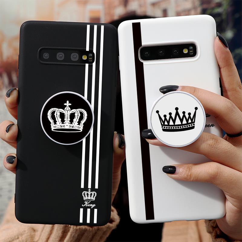 Para Samsung Galaxy S20 Ultra Nota 10 S10 Lite Pro 8 9 S8 S9 S10e S6 S7 borde J4 J6 Plus 2018 J5 J7 2017 parejas corona titular caso