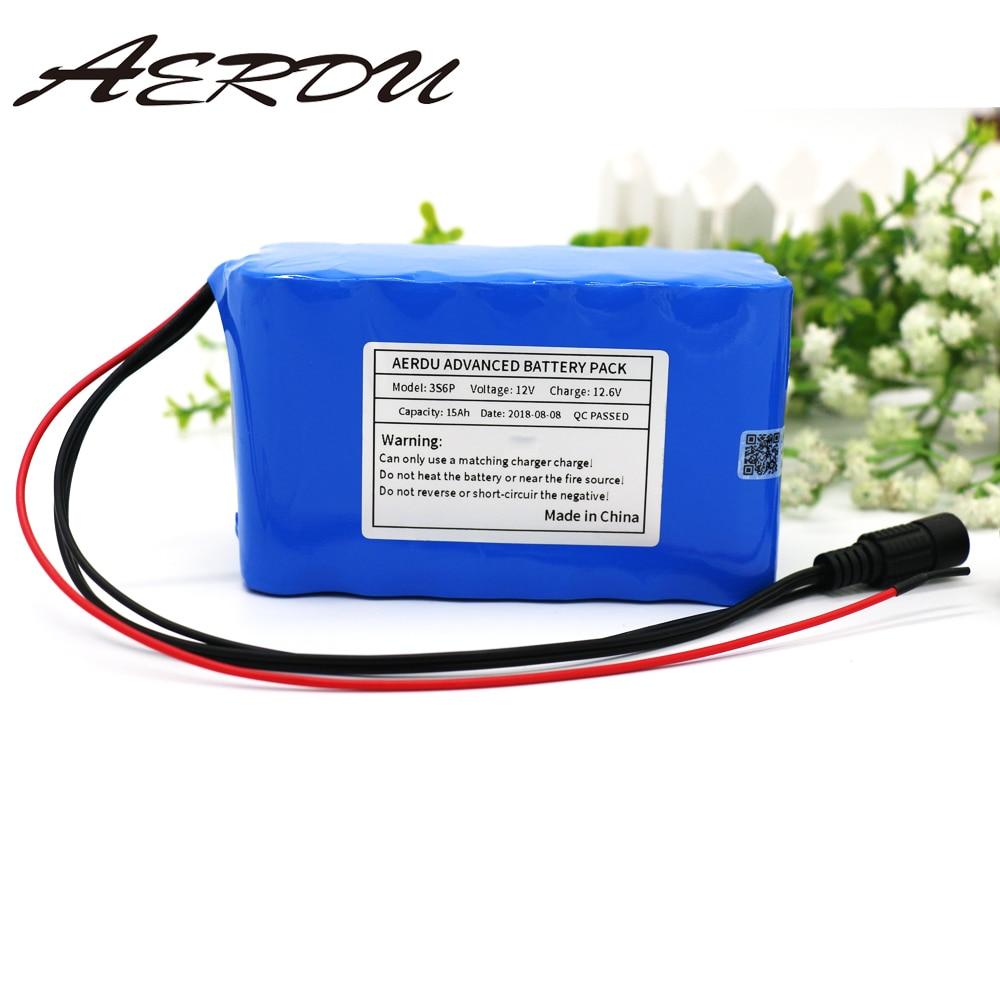 AERDU 3S6P 12 فولت 15Ah سعة كبيرة 11.1 فولت 12.6 فولت 18650 بطاريّة ليثيوم قابلة لإعادة الشحن حزمة ل LED ضوء المصباح الطاقة الاحتياطية مع BMS