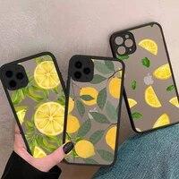 lemon phone case matte transparent black for iphone 7 8 x xs xr 11 12 pro plus mini max clear funda