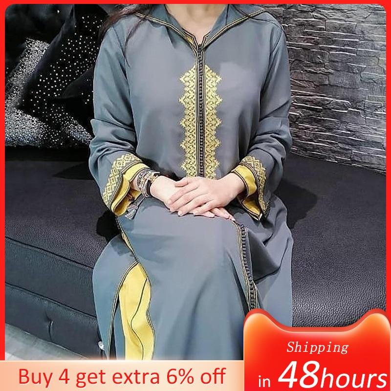 AliExpress - Women Oversized Pullover Dress Kaftan Jellaba Vintage Gery Floral Print Hooded Ladies Casual Muslim Dubai Long Sleeve Maxi Dress