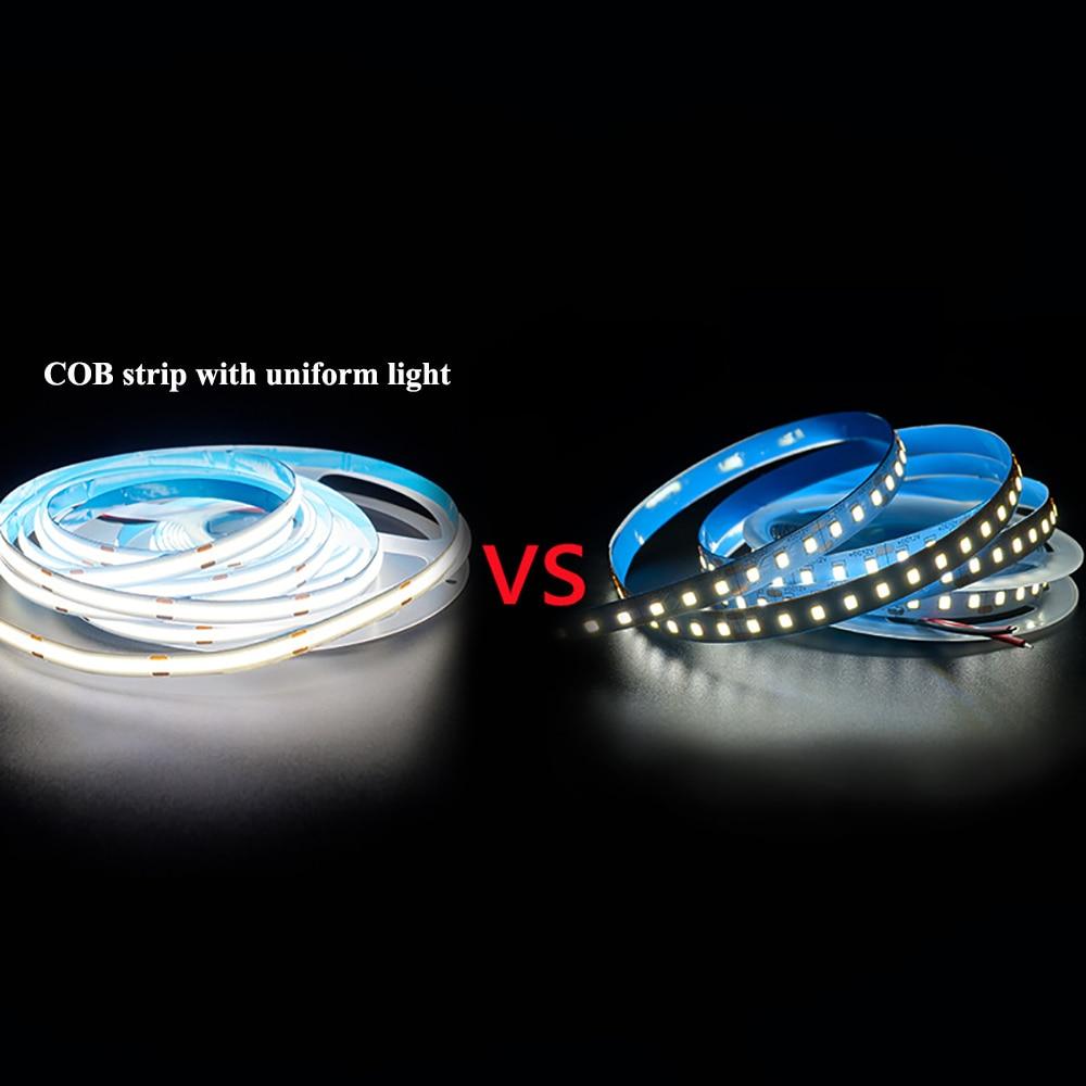 50M COB LED Strip 300 384 528 LEDs Super Brightness Flexible COB LED Strip Lights DC12V 24V RA90 3000K 4000K 6000K LED Tape enlarge