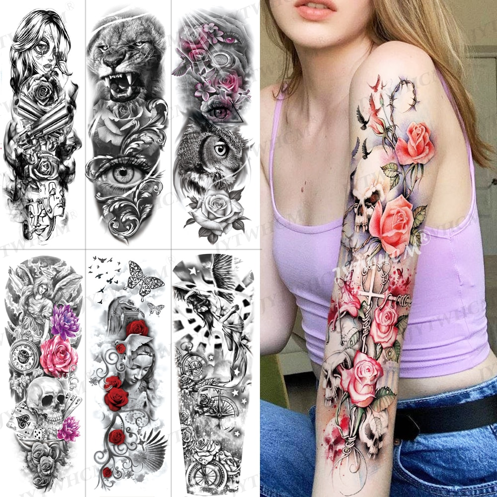 Waterproof Temporary Tattoo Stickers Flash Totem Full Arm Large Size Tattoo Fake Sleeve Tattoo Cool Art Tattoo For Men And Women