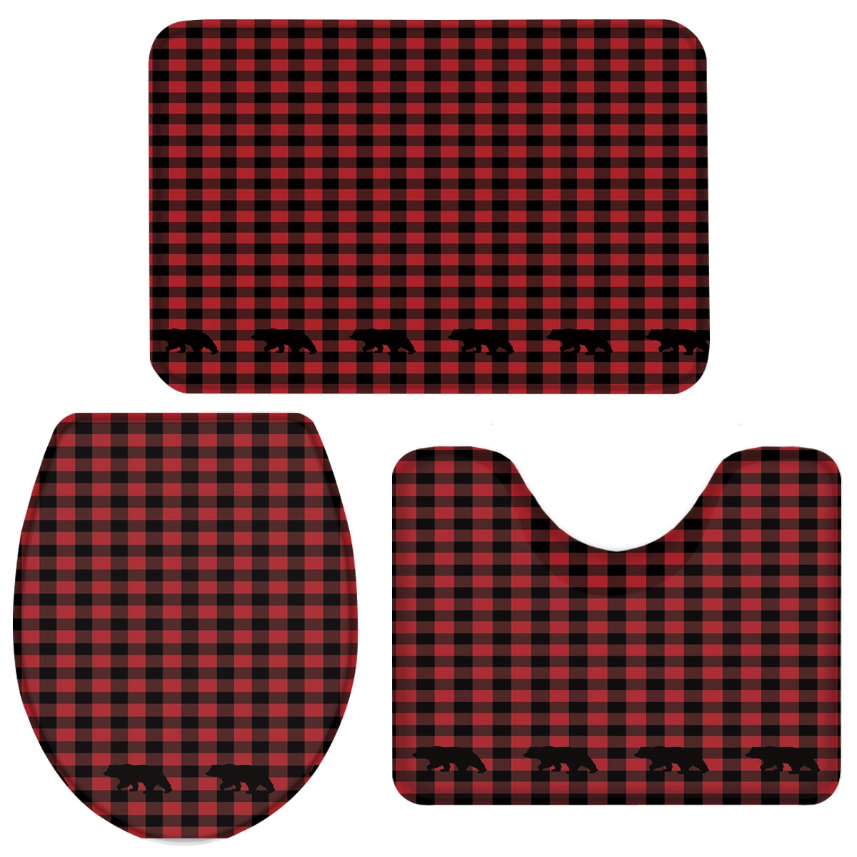 3 peças conjunto de banheiro vermelho preto xadrez urso conjunto banho toalete capa tapete pedestal antiderrapante banheiro conjunto