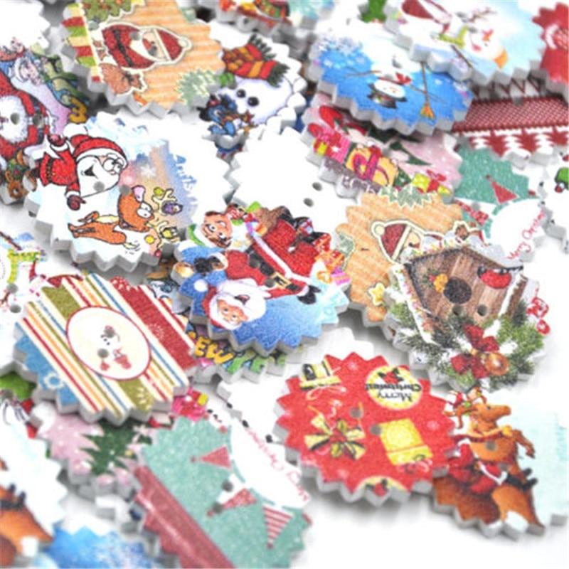10/50/100 stücke Mischen Frohe Weihnachten Holz Tasten 24mm Nähen Mischung Verlost WB351