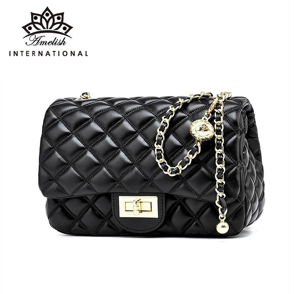 AMELISH Casual Plaid Girls Messenger Bags Famous Brand Designer Shoulder Handbag for Women Fashion M