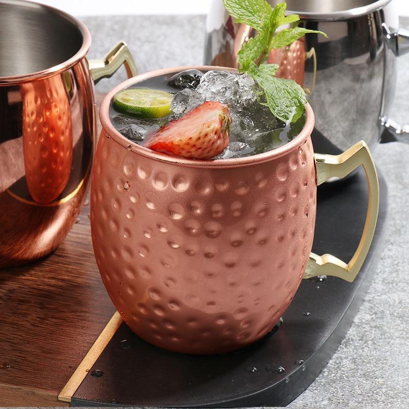 2021 530ml 18 Unzen Moscow Mule Becher Edelstahl Gehämmert Kupfer Überzogene Bier Tasse Kaffee Tasse Bar Cocktail Glas drink