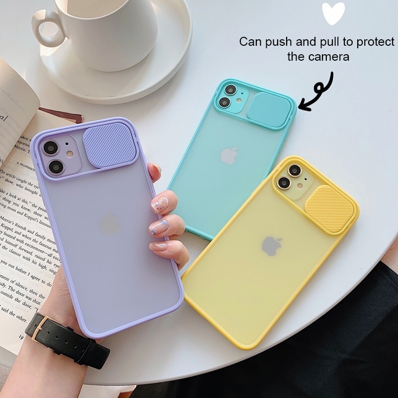 Color Slide Camera Lens Protection Phone Case On For iPhone 11 12 Pro XS Max X XR 8 7 6s Plus SE 202