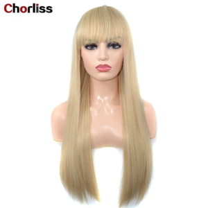 Long Blonde Silky Straight Synthetic Wig With Bangs Chorliss Middle Part High Temperature Fiber Hair Fashion Daily Wig 26 Inches
