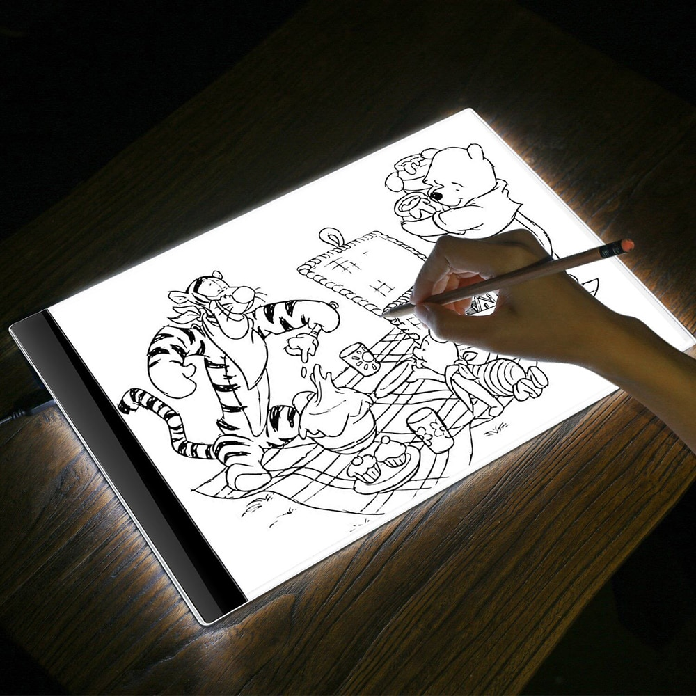 Caja de luz LED, tablero de rastreo A4, tableta de dibujo de luz, tablero de copia de trazador Digital, tablero de plantilla LED, caja de luz