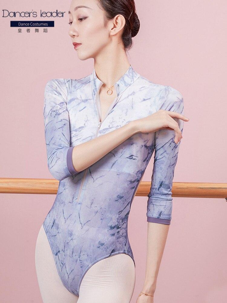 Ballet Leotards for women high-neck printed practice clothes gymnastics clothes adult elegant body clothes yoga dance clothes