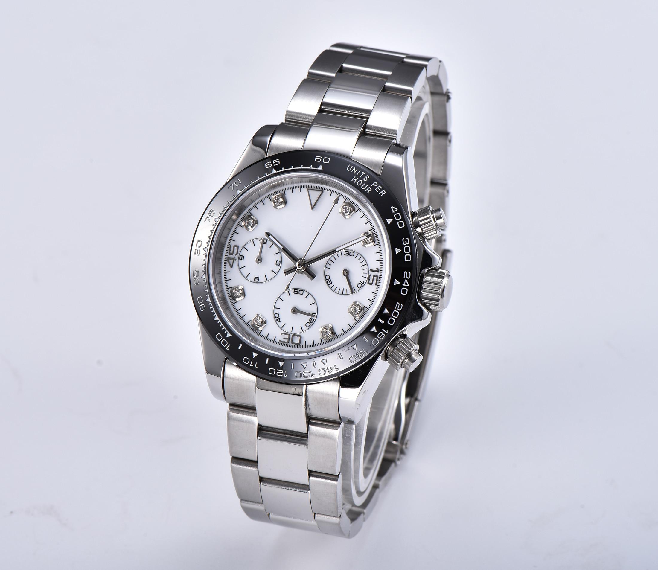 Novo Relógio Masculino Quartz Chronograph Vk63 Luz Bomax Marina Mão Movimento Safira 39mm Cerâmica Aço Pulseira 8243