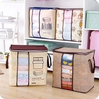 2020 new non woven portable clothes storage bag organizer 45 55129cm folding closet organizer for pillow quilt blanket bedding